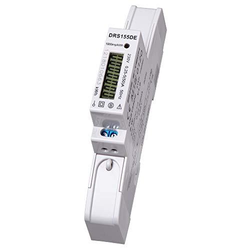 B+G E-Tech DRS155DE Stromzähler MID geeicht 1-Phasen Wechselstromzähler für Hutschiene als Strom Zwischenzähler mit LCD Anzeige S0-Schnittstelle mit 1000imp/kWh bis 50A Eichjahr 2020