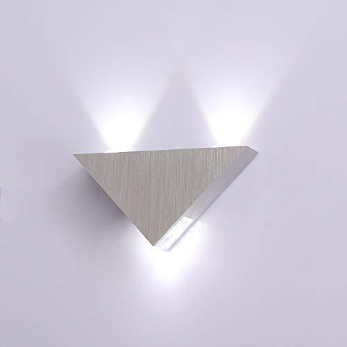 CAMPSLE Aplique de pared LED triangular, 3 W / 5 W, luces de neón, barra de señalización, luces de pared, luz de pasillo para dormitorio decorativo, sala de estar, pasillo, comedor, hotel
