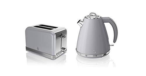 Swan, STP7040GRN, Retro 1.5L Jug Kettle & 2 Slice Toaster, Stainless Steel Body, 3kw, Slide Out Crumb Tray, Auto-Centering (Grey)