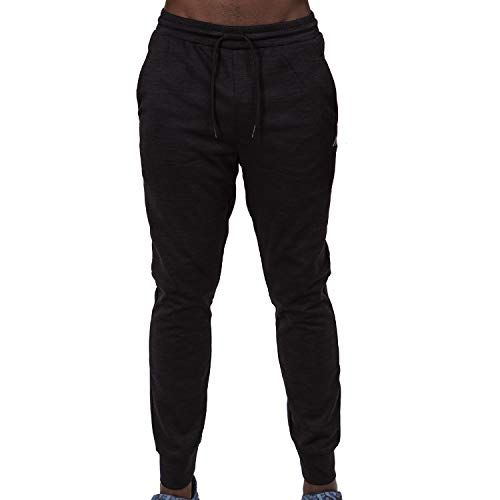 Alive Men's Sweatpant Quick Dry Athletic Performance Running Jogger Pant (Large, Obsidian)