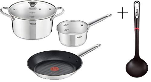 Tefal Juego de ollas y sartenes con cucharón, 5 piezas, 16/20/28 cm, acero inoxidable, inducción, apta para todos los tipos de cocina, apta para lavavajillas