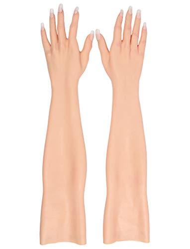BZDJS Realistische Haut Handschuhe für Crossdress Transgender CD Drag Queen Silikonkautschuk weiblichen Handschuh für Burn Cover The Scar