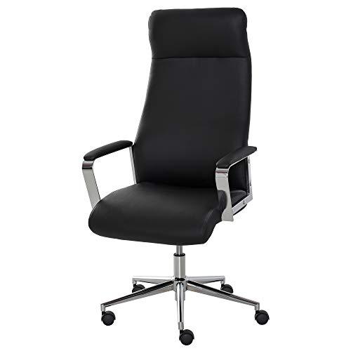 Vinsetto Bürostuhl Schreibtischstuhl Computer Stuhl Ergonomisch Verstellbare Höhe Kunstleder luxuriös Belastbarkeit 120 kg schwarz 63 x 64 x 118,5-128 cm