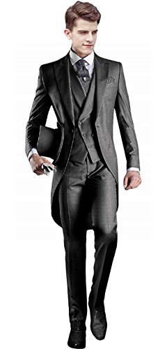 Groom Tuxedo for Wedding Vintage Mens Tuxedo trajes formales para Hombres Slim fit Charcoal