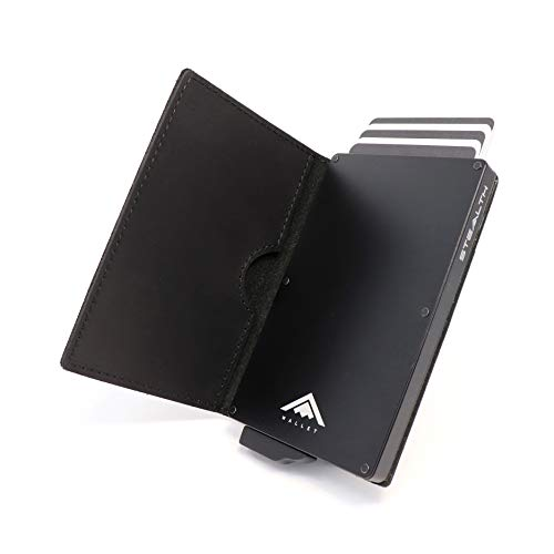 STEALTH Wallet Minimalista Portatarjetas RFID - Slim Ligero Aluminio NFC Bloqueo Pop Up Carteras Tarjeteros (Negro con Cuero de Caballo Loco de Grano Completo Negro)