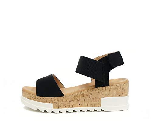 SODA SPORT ~ Women Open Toe Single Band Elastic Ankle Strap Flatform Wedge Casual Fashion Sandal with Cork Wrap Bottom (Black, numeric_7_point_5)