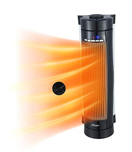Hunter HPH15-E(Black) Vertical and Horizontal Oscillating Digital Ceramic Heater with Remote Control (Black)