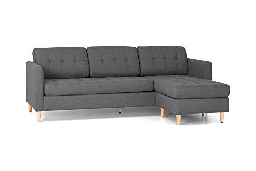 Homexperts Arizona Sofas, Webstoff, Dunkelgrau, 219 x 80 x 146 cm (BxHxT)