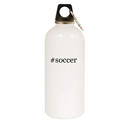 #soccer - 20oz Hashtag Stainless Steel White Water Bottle with Carabiner, White