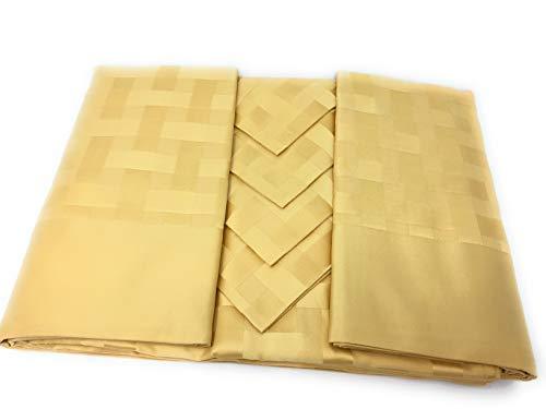 Mantel rectangular para 6 personas con 6 servilletas Piazza Italia Art. Trenzado de Flandra Borde aplicado (amarillo dorado, rectangular para 6 cm 150 x 180)