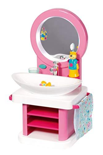 Zapf Creation 827093 BABY born Bath Waschtisch mit Licht-, Sound- und Wasserfunktion und Badezimmer-Accessoires, Puppenzubehör 43 cm