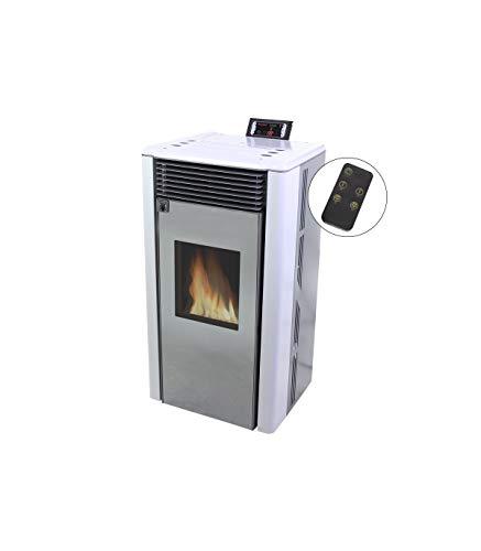 Grupo K-2 Estufa De Pellet Islandia Blanco, Caldera de pellets con un Consumo eléctrico Muy bajo, Consumo de Pellet/Hora: 0,6-1,8 kg/Hora, Pantalla LED con Control de Temperatura, Llama, Ventilador