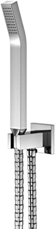 Steinberg 120 1670 Hochwertige auf Hochglanz polierte Handbrausegarnitur mit integriertem Wandanschlussbogen und Metall-Stabhandbrause, Chrom