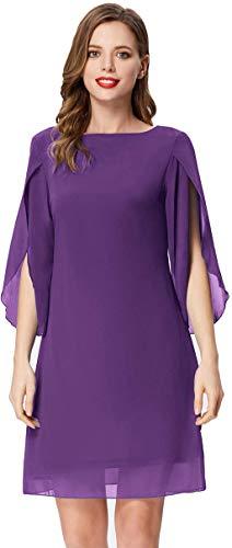 Women 3/4 Sleeve Loose Fit Chiffon Tunic Dress Shift Dress Knee Length Violet XL