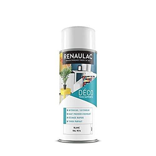 Renaulac Peinture Aérosol Déco multi-supports - Blanc (Blanc Mat) - 400 ml (Ref:...