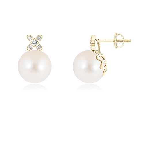 Pendientes de perlas cultivadas en agua dulce con diseño de flores de diamante