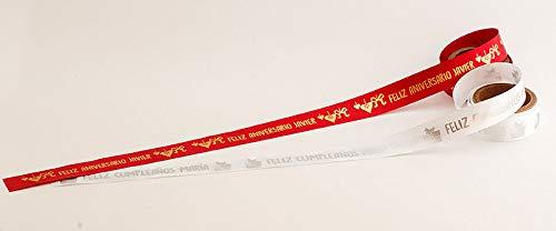 Tarja 73   Cinta De Tela Personalizada en rollo de 2 metros   Ideal Para envolver tus regalos Para Bodas, Bautizos, Comuniones y Eventos especiales   Regalo personalizado y Original.