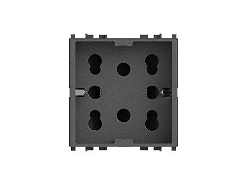 4Box Mehrfachsteckdose 1 Schuko oder 2 Bypass kompatibel mit Vimar Arké, 250 V, grau, 4B.V19.H21