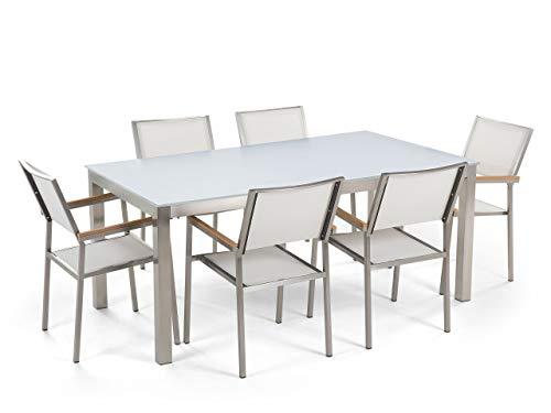 Beliani - Table de Jardin et 6 Chaises - Grosseto - Plateau en Verre, 180x90 cm, Chaises en Tissu, Blanc et Argenté