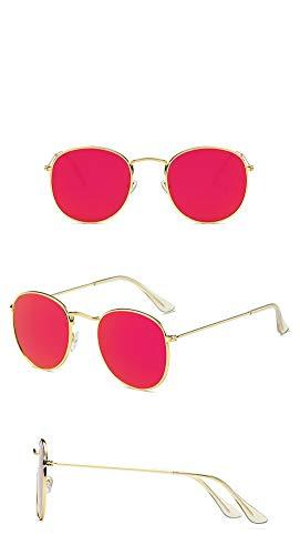 P-WEIAN Gafas de Sol de Moda Retro con Montura Redonda para Hipsters...