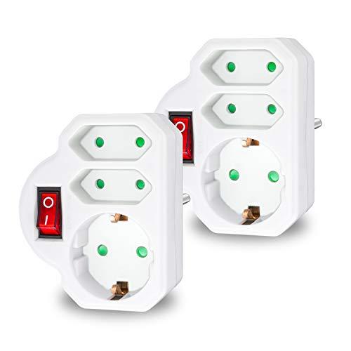 benon 2X Mehrfachstecker Weiß mit Schalter - Steckdosen-Adapter mit Kindersicherung - Doppelstecker 3680W - 3Fach Multistecker - 2X Euro- und 1x Schuko - Mehrfachsteckdose