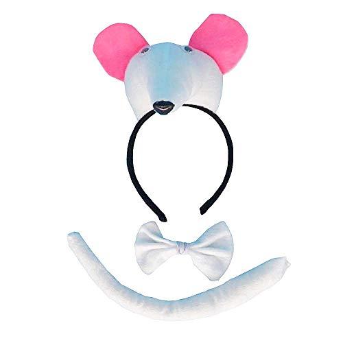 Lot hoofdband - witte muisstaart - dieren - vrouw - kinderen - kostuum - vermomming - carnaval - halloween - accessoires - cadeau-idee voor kerst en verjaardag papillon cosplay