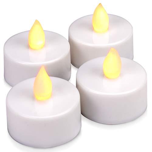 4er Set LED Teelicht weiß - batteriebetrieben mit Timer - Teelichtkerzen Xmas Romantiklichter Entspannungslicht Weihnachtsdeko für Innen
