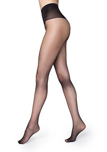 Marilyn Silky Soft Exclusive Luxe European Pantyhose 15 Denier Comfort Top (Black, M/L)