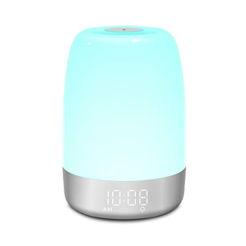 MOSINITTY LED luz nocturna táctil para la cama, lámpara táctil regulable 7 colores modos de luz 5 sonidos naturales Lámparas de noche Control táctil Luz despertar amanecer