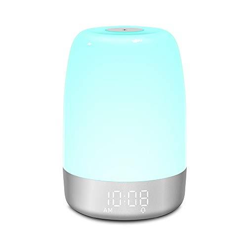 MOSINITTY LED-Touch-Nachtlicht für Nachttisch, Touch-Lampe, dimmbar, 7 Farben, Lichtmodi, 5 Naturgeräusche, Nachttischlampen, Touch-Steuerung, Aufwachlicht, Sonnenaufgang, Wecker für Kinder und Babys
