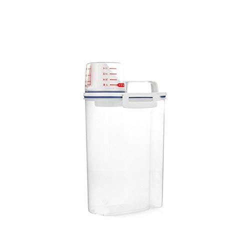 Big 2l Plastic Cereal Dispenser Caja de almacenamiento de la cocina de la cocina del grano de la cocina del recipiente del arroz con la funda de la boca de dispensación para las semillas de alimentos