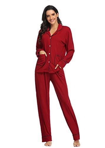 SHEKINI Damen Klassische Zweiteiliger Schlafanzug mit Hose Nachthemd Nachtwäsche Pyjama Sleepwear 1733(Weinrot,L)
