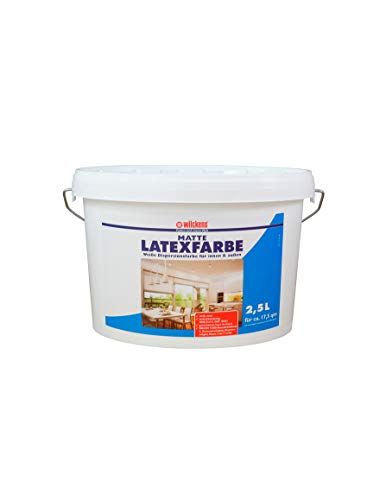 Latexfarbe weiß matt 2,5 l ca. 15 m² Putz Beton Faserzement Innenfarbe Farbe glänzend Wilckens