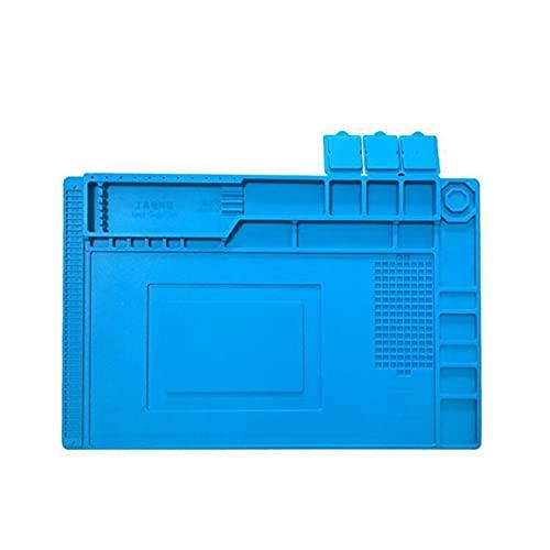 QiKun-Home Estación de Soldadura magnética Mesa de Trabajo Resistencia a Altas temperaturas Teléfono móvil Mantenimiento de computadoras Almohadilla de Aislamiento de Silicona Azul