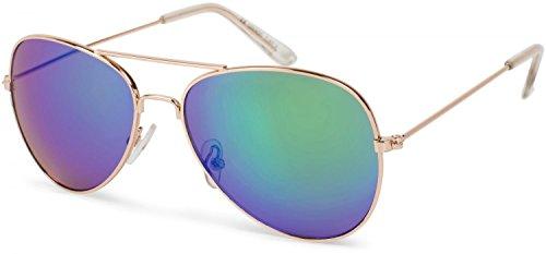 styleBREAKER Gafas de aviador para niños con marco de metal de acero inoxidable, con espejo o teñidas, Gafas de aviador, Gafas de sol 09020059, color:Marco dorado/vidrio verde-azul