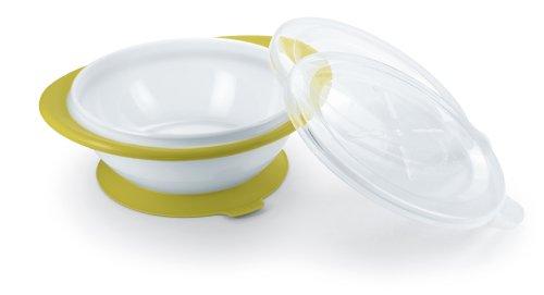 NUK 10255204 Easy Learning Esslernschale für Kinder ab 6 Monaten mit Saugnapf, zwei Deckel, BPA frei, pistazie