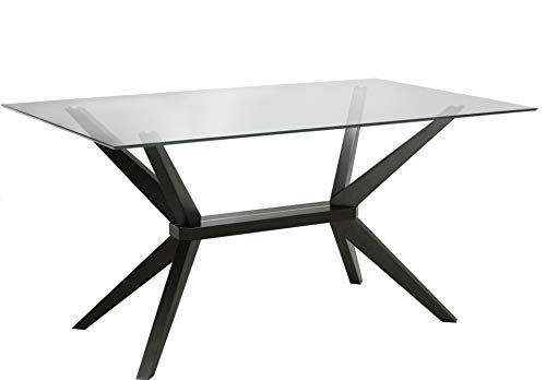 """Uptown Club Vanora Collection Modern Tempered Glass Top Long Dining Table, 63"""" L x 35.4"""" W x 29.5"""" H, Dark Walnut"""
