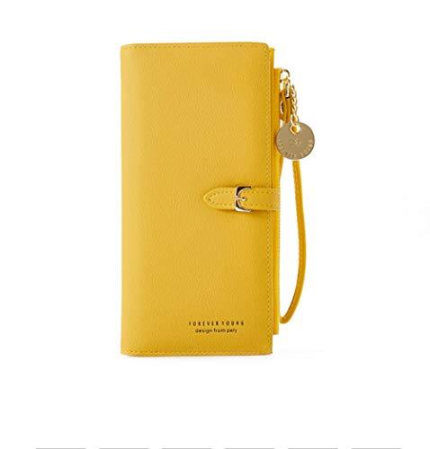 Yhhzw Pulsera Simple Larga Carteras para Mujer Cinturón Cartera para Mujer Embrague Señora Monedero con Cremallera Bolsillo para Teléfono Titular De La Tarjeta Tamaño 10 × 2 × 19Cm