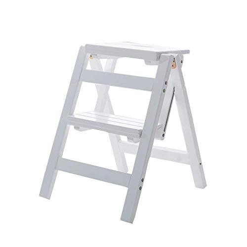 Multifunktionale Faltbare Trittschemel Holzleiter 2 Stepsshelf Leiter Familie Küche Bibliothek, 150 Kg Kapazität (3 Farben) Ladder jhghfghfdgfdgfdg/Weiß
