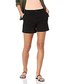 Amazon Essentials Women s 5 Inch Inseam Chino Short  Available in Straight and Curvy Fits  Black 12