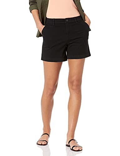 Amazon Essentials Women's 5 Inch Inseam Chino Short (Available in Straight and Curvy Fits), Black, 14