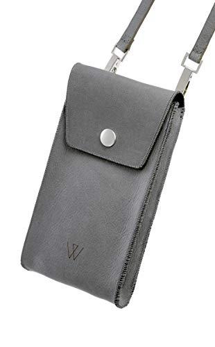 Smartphone-schoudertas, zwart, met vele vakken, premium echt leer, door Wunsleder