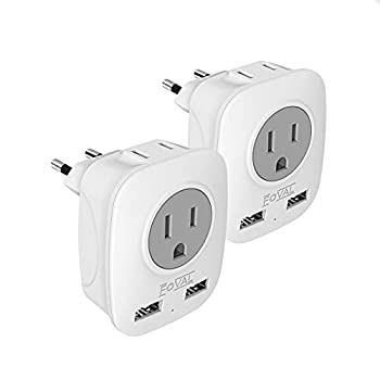 European Plug Adapter Foval International Travel Power Adaptor with 2 USB 4 in 1 US to Europe Travel Plug Adapter for France Italy Germany Spain Greece  Type C   2 Pack
