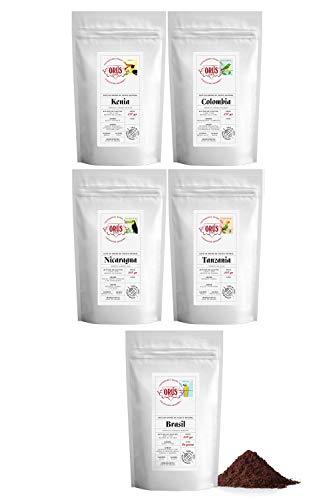 """Pack de café MOLIDO Gourmet """"Colección Orígenes"""" - (5 paquetes de 250 gramos cada uno) - Cafés Orús"""