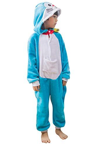 YAOMEI Niños Onesies Kigurumi Pijamas, Niña Traje Disfraz Capucha, Ropa de Dormir Halloween Cosplay Navidad Animales de Vestuario (120, Doraemon)
