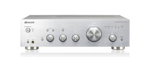 Pioneer A-30-S - Amplificador estéreo (140 W, Botones táctiles, Indicadores LED, Ajuste de Bass, Mando a Distancia), Plateado