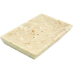 Guru-Shop Jabonera de Mármol, Recipiente Zen Para Lavabo – Gris, 2x16x10 cm, Platos de Jabón