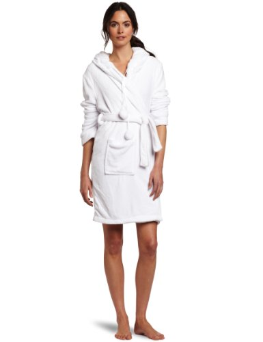 Seven Apparel Hooded Pom Pom Plush Robe, Angelic White