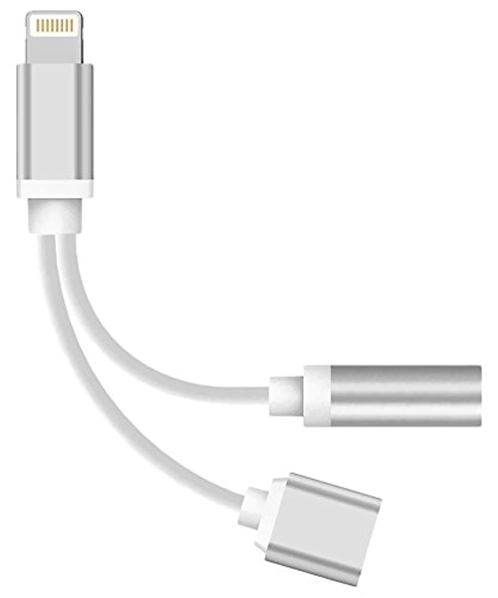 WEIPAI DJHRN 2 in 1 iPhone 7 Adapter Lightning to Charger and Lightning to 3.5mm Aux Earphones Jack Cable for iPhone 7/7 Plus [No Calling Function & Music Control]