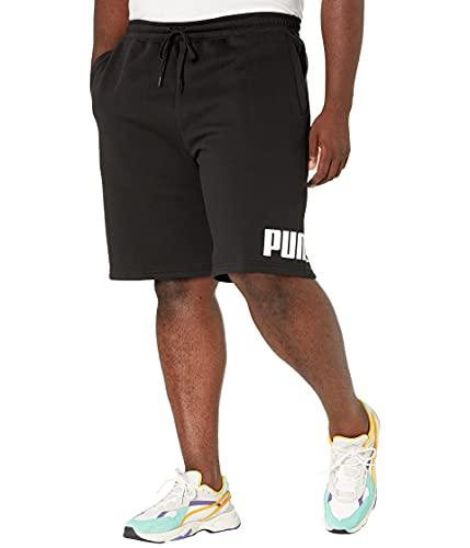 PUMA Pantalones Cortos para Hombre Big & Tall Big Logo 10 Pulgadas BT, Negro, Blanco (Cotton Black/White), 3X-Large Big Tall